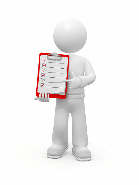 3D guy pointing on checklist. stock photo