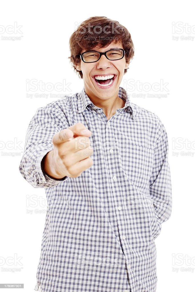Guy pointing out and laughing royalty-free stock photo