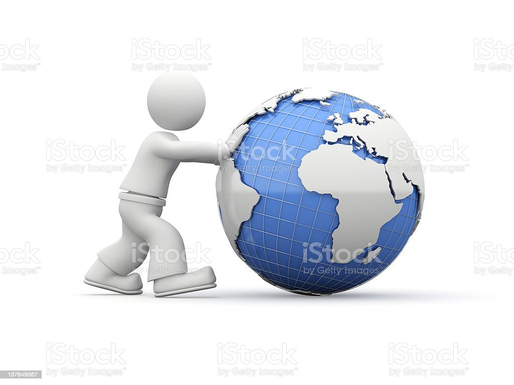 3D guy rolling the World. stock photo