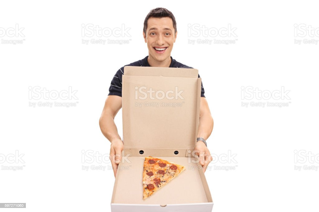 Guy showing a pizza box Lizenzfreies stock-foto