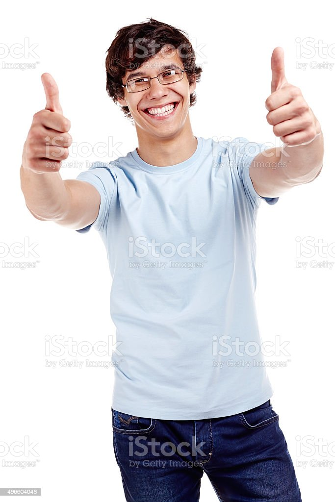 Guy showing thumbs up sign stock photo