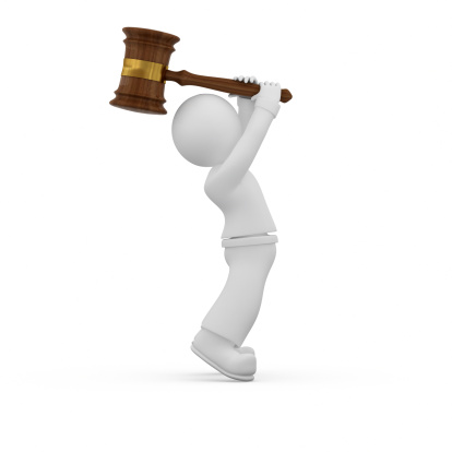 3d Guy Smashing Something By Judge Gavel Stock Photo - Download Image Now