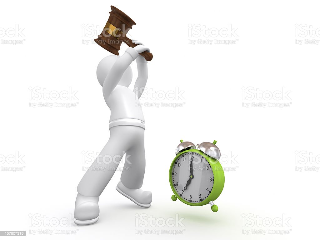 3D guy smashing the alarm clock. royalty-free stock photo
