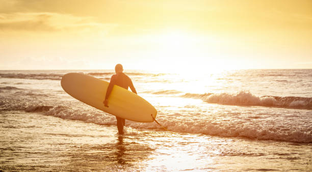 guy surfer walking with surfboard at sunset in tenerife - surf long board training practitioner in action - sport travel concept with sof focus water near feet - warm sunshine color foltered tones - surf foto e immagini stock
