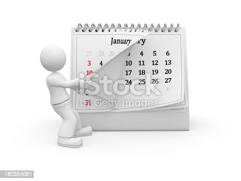3D caracter turning over the calendar january page. Isolated on white background with soft shadows. XXXL 3D rendered image.