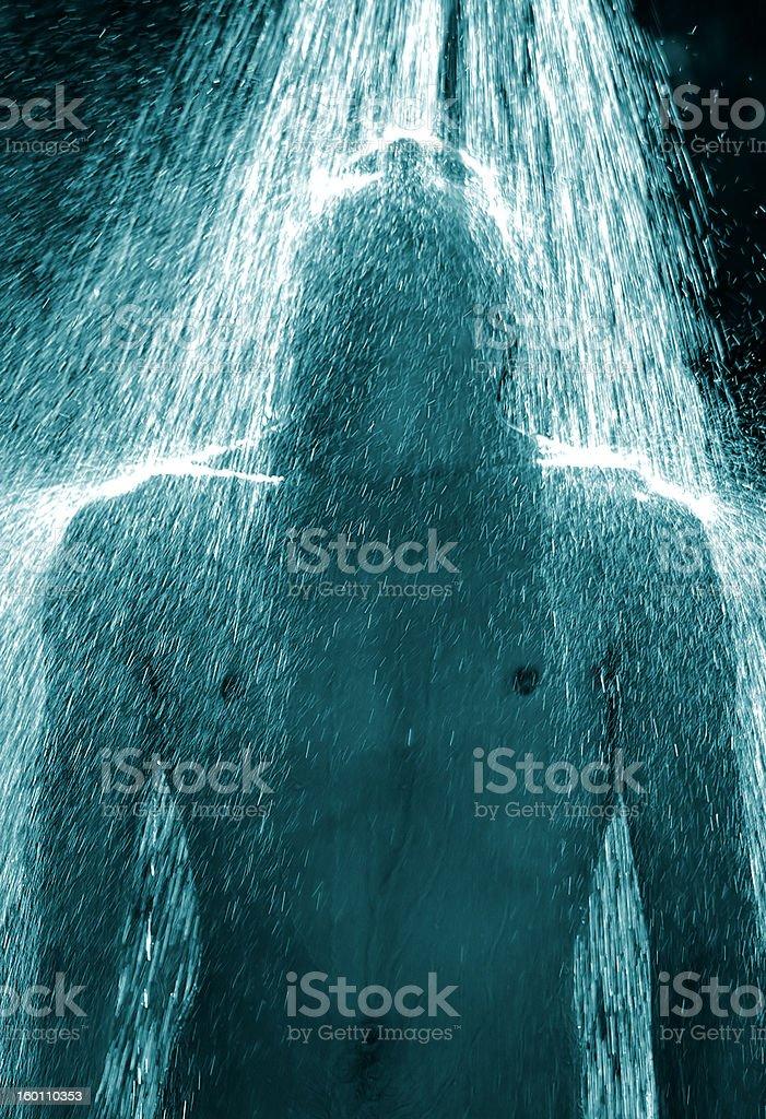 Guy Under Outdoor Shower stock photo