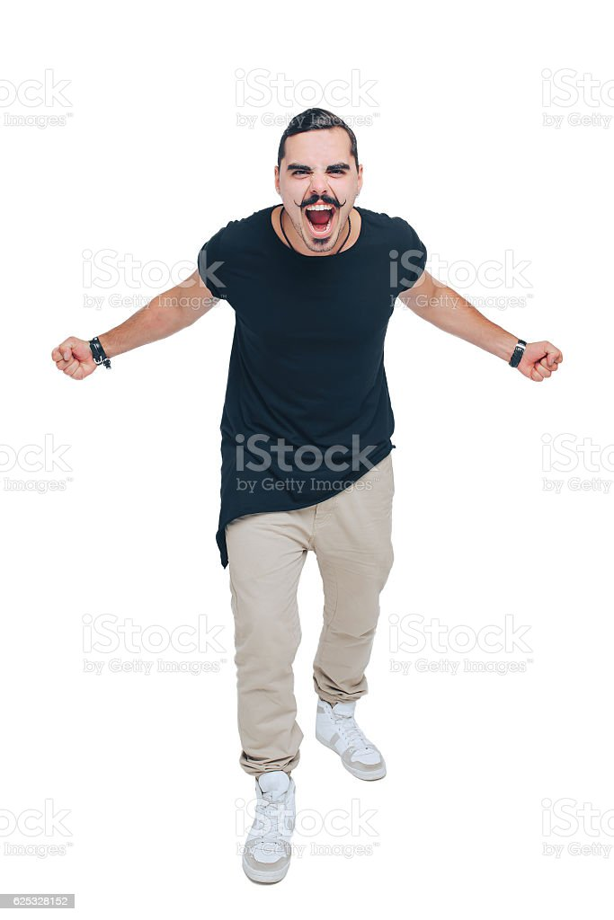 guy was angry shouting with a smile stock photo