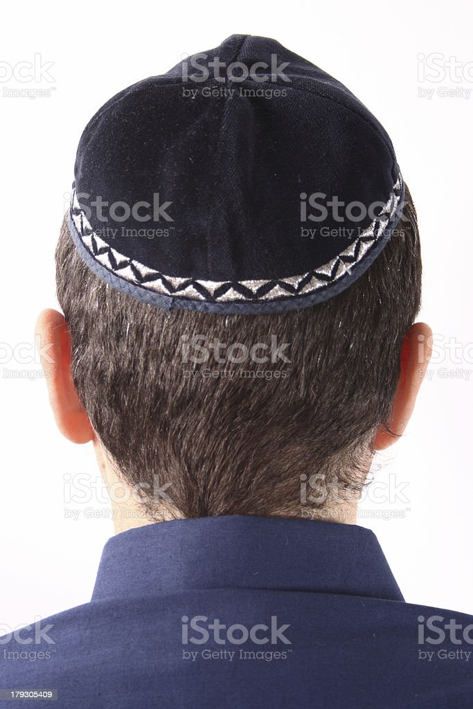 Guy wearing a kippah stock photo
