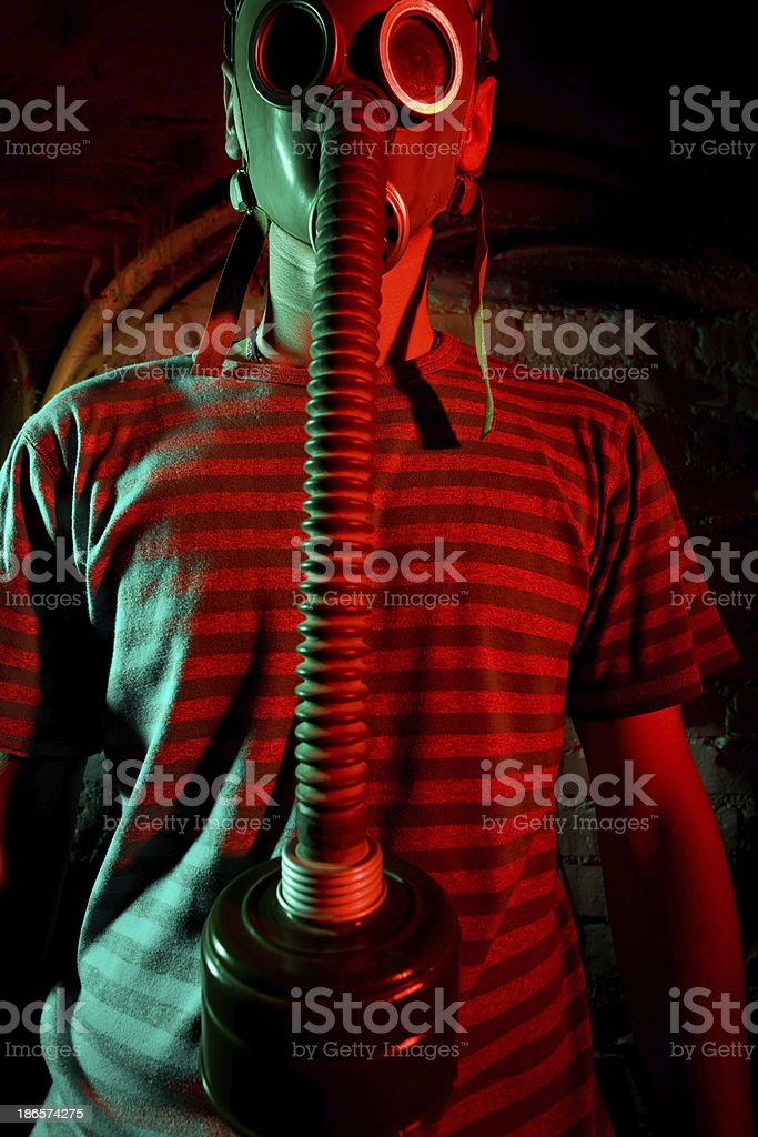 Guy wearing protection mask royalty-free stock photo
