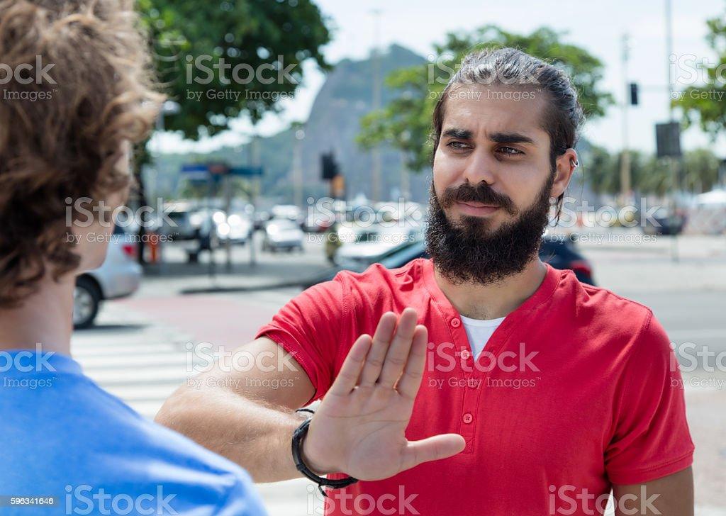 Guy with beard says no Lizenzfreies stock-foto