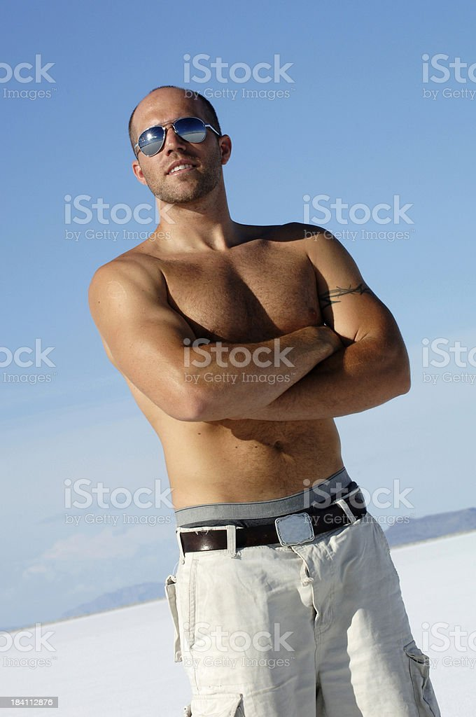 Guy with cool sunglasses at Bonneville Salt Flats royalty-free stock photo