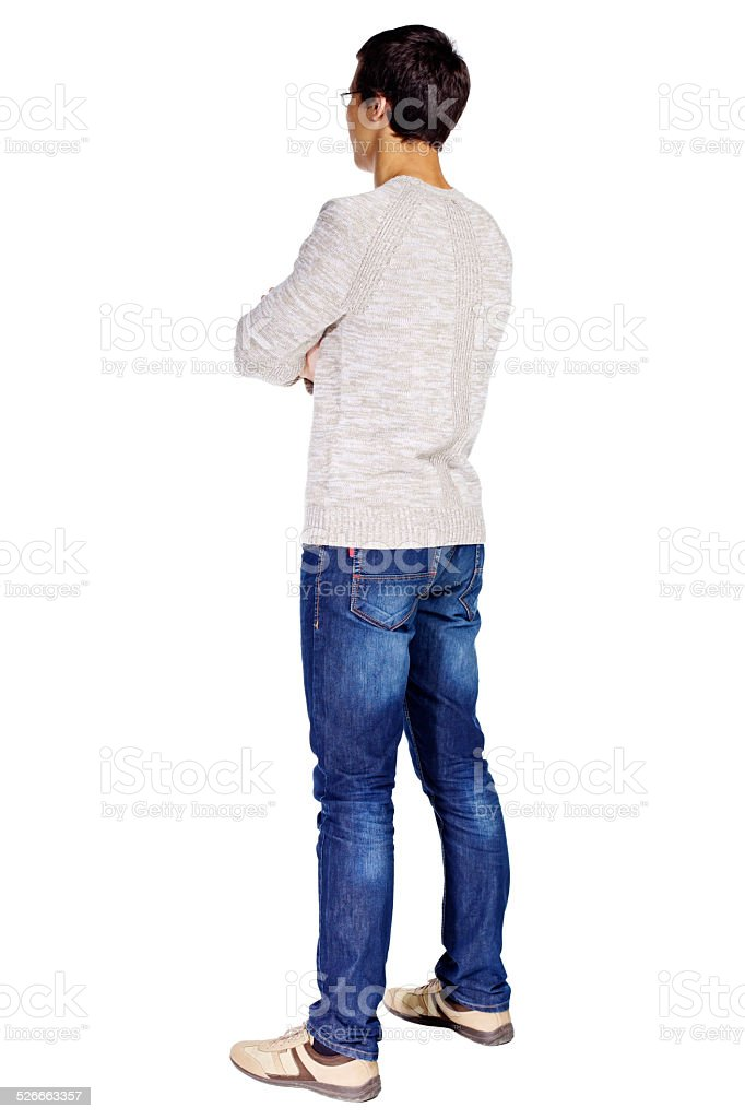 Guy with crossed arms stock photo