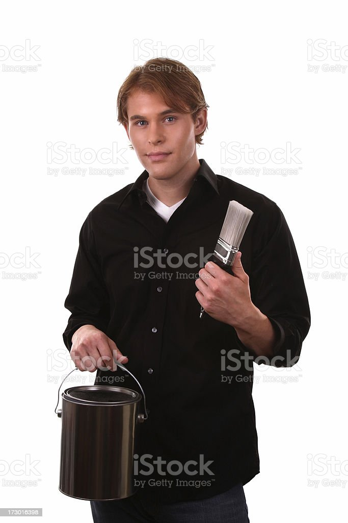 Guy with Paint Brush and Can stock photo