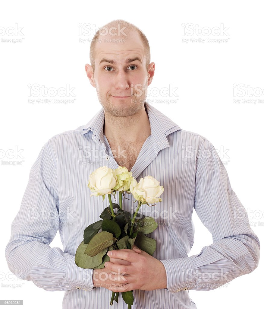 Guy with roses royalty-free stock photo