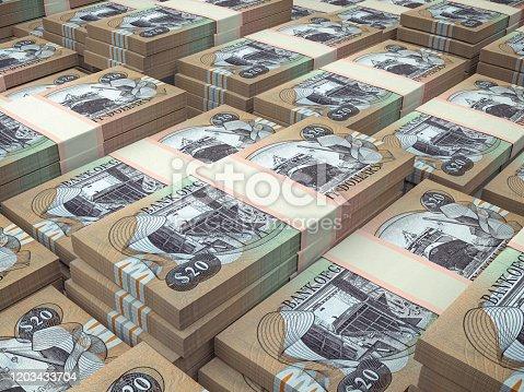 istock GYD. Guyana currency background. Guyana dollars banknotes. Georgetown 1203433704