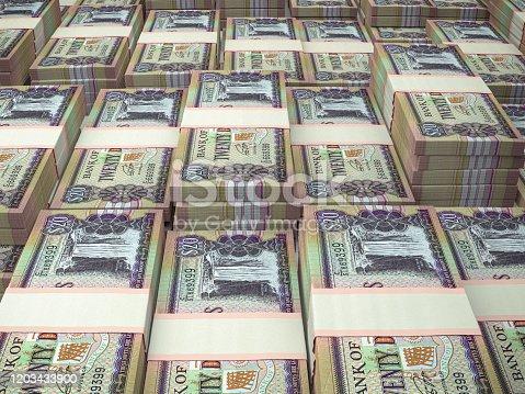istock GYD. Guyana currency background. Guyana dollars banknotes. Georgetown 1203433900