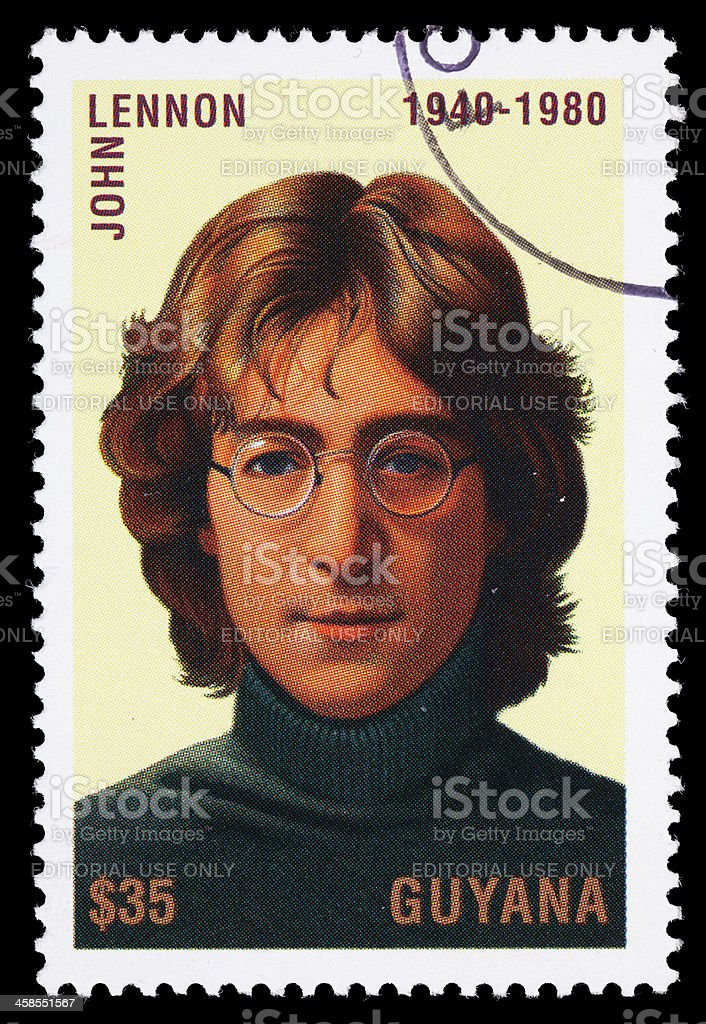 Guyana John Lennon postage stamp stock photo