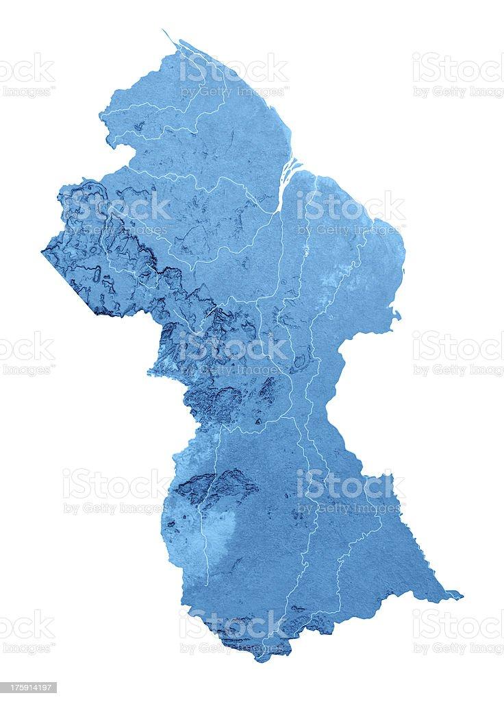 Guyana Topographic Map Isolated royalty-free stock photo