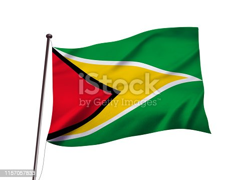 istock Guyanaflag fluttering in the wind,3D illustration 1157057833