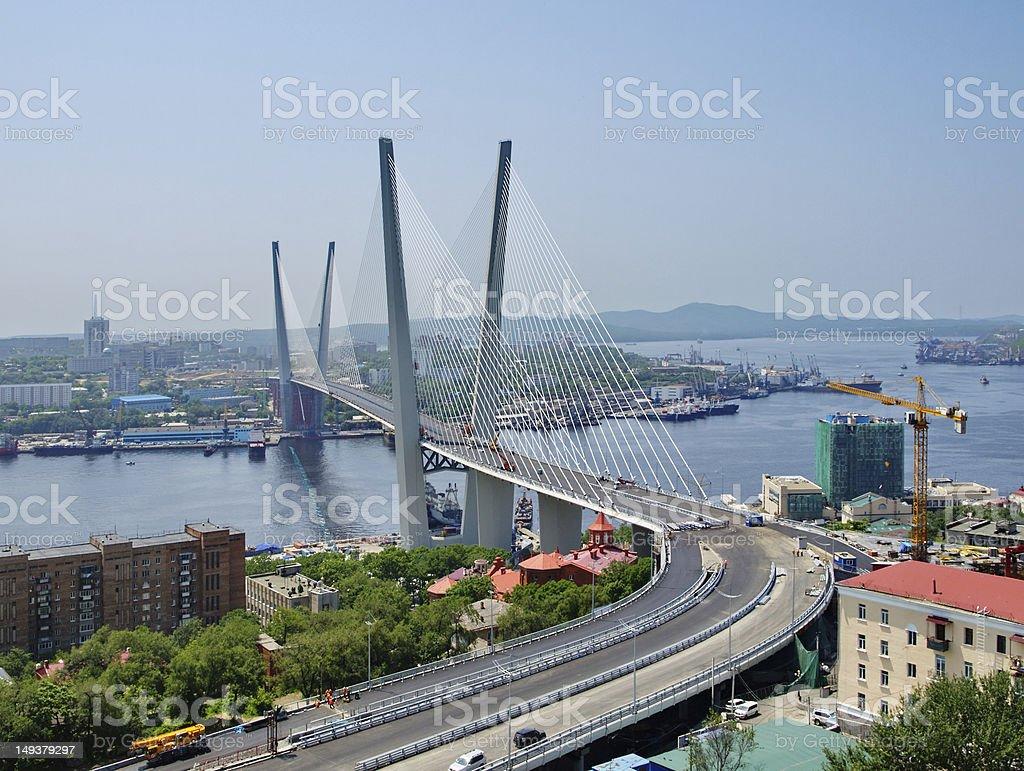 Guyed bridge in the Vladivostok stock photo