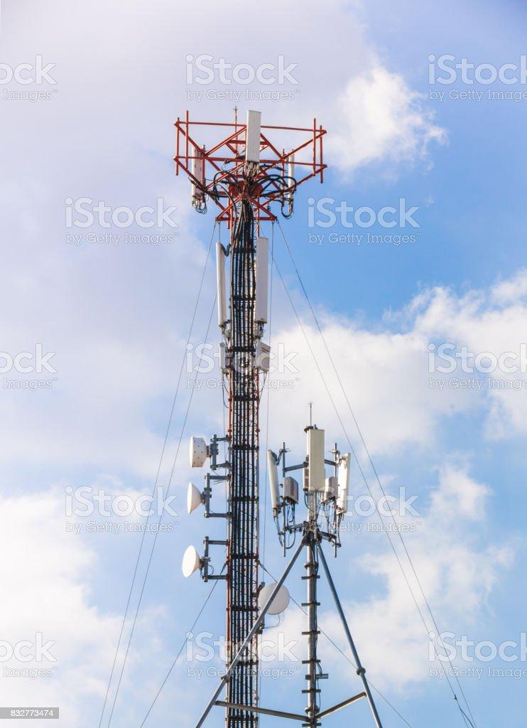 guyed mast pole, mobile communication stock photo