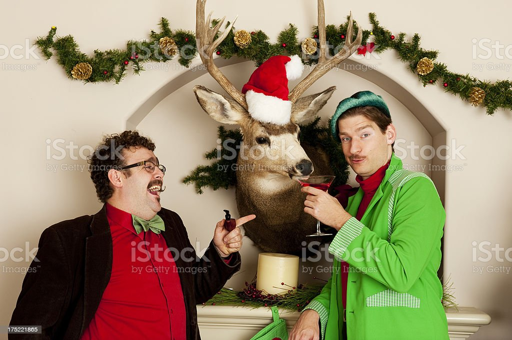 Guys at Christmas stock photo