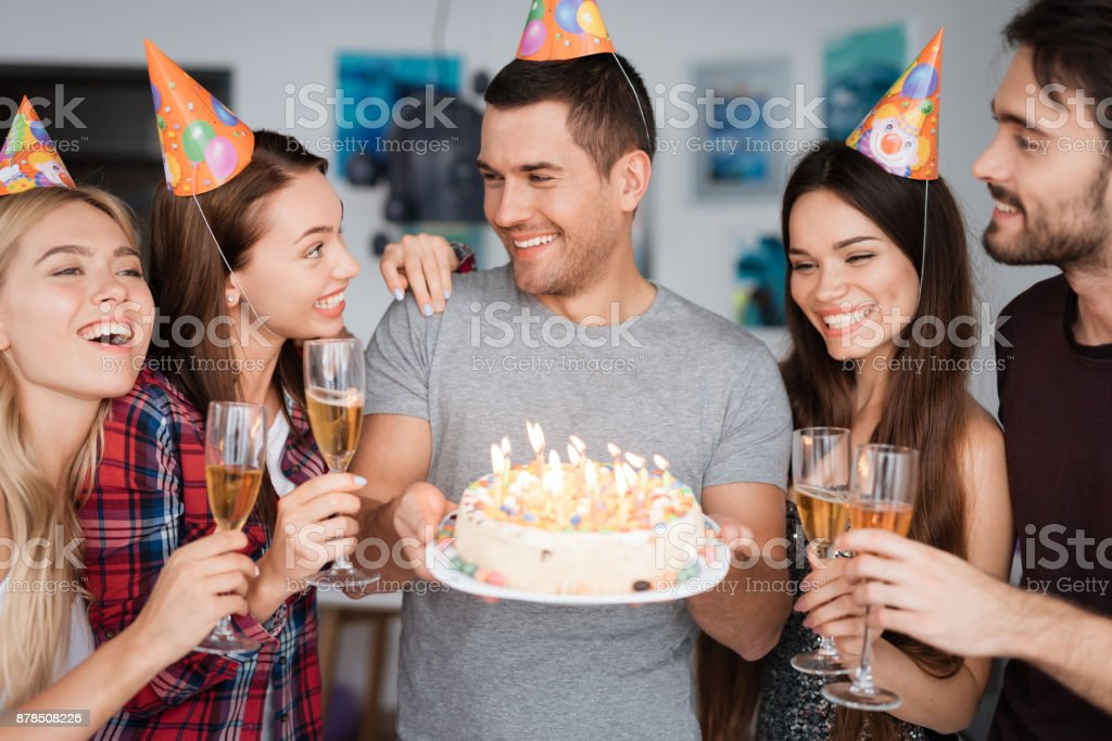 Superb A Guys Birthday And His Friends Congratulate Him Guests Are Funny Birthday Cards Online Alyptdamsfinfo