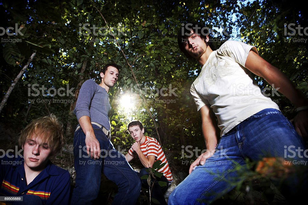 guys in forest portraits royalty-free stock photo