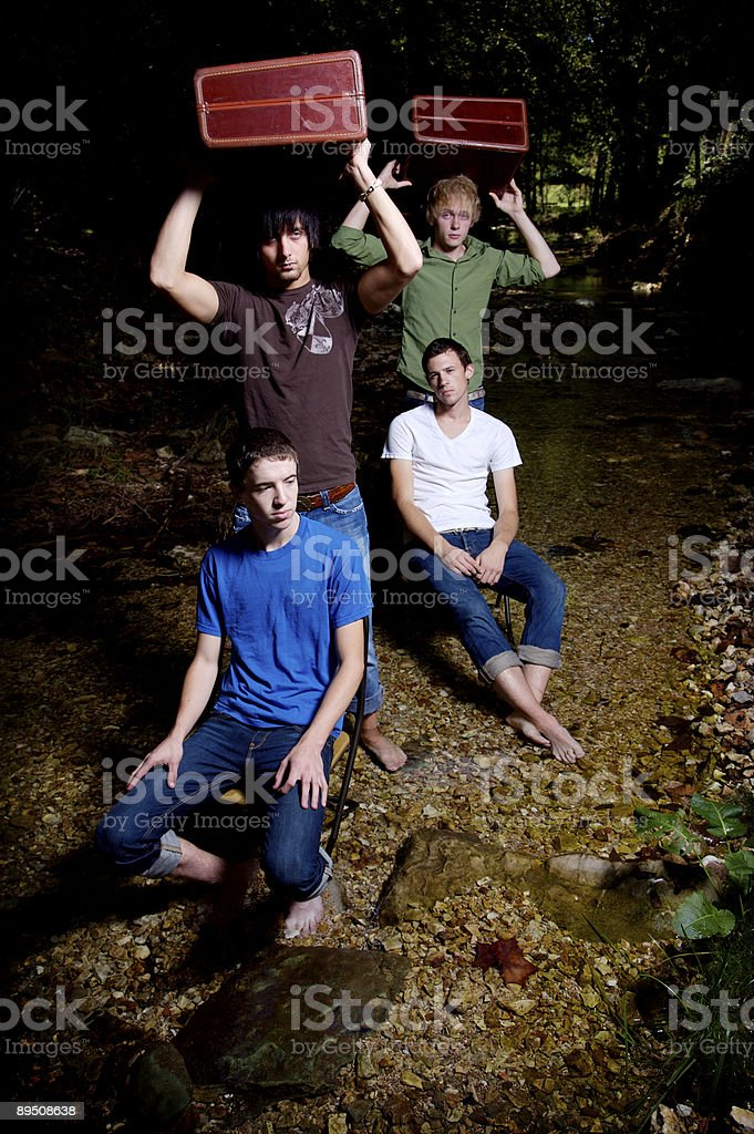 guys in river portraits royalty-free stock photo