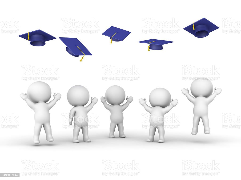 3D guys throwing graduation hats stock photo