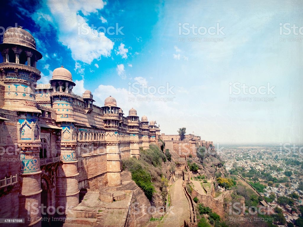 Gwalior Fort Gwalior City India Retro Style Stock Photo More