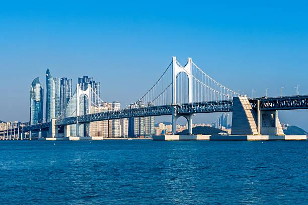 gwangan bridge and haeundae in busan,korea - 釜山 ストックフォトと画像