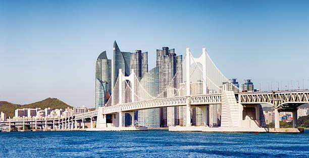 gwangandaegyo bridge in busan south korea with modern buildings panorama - 釜山 ストックフォトと画像