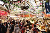 The famous Gwangjang Market in Seoul, South Korea. Thousands of people, vendors, and amazing street food.
