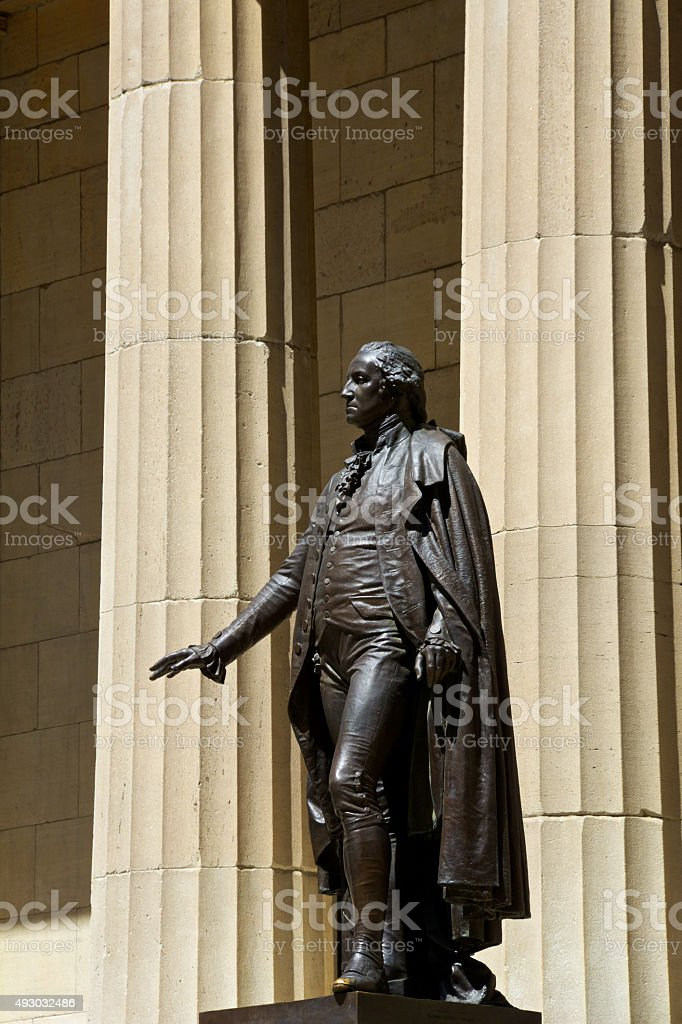 G.Washington Statue, Federal Hall, Manhattan Financial District, New York City stock photo