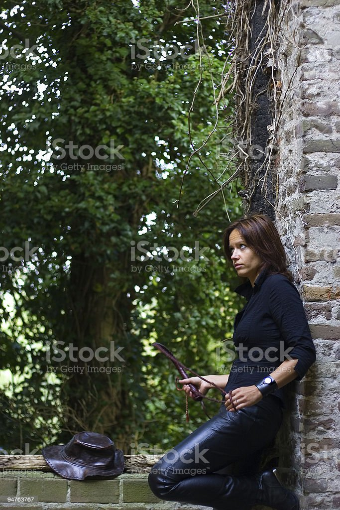 Gwendela with hat and whip royalty-free stock photo