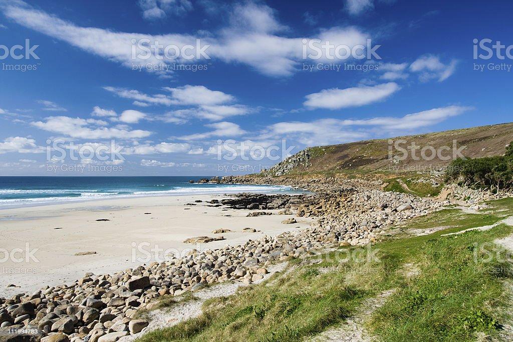 Gwenvor beach near Sennen in West Cornwall stock photo
