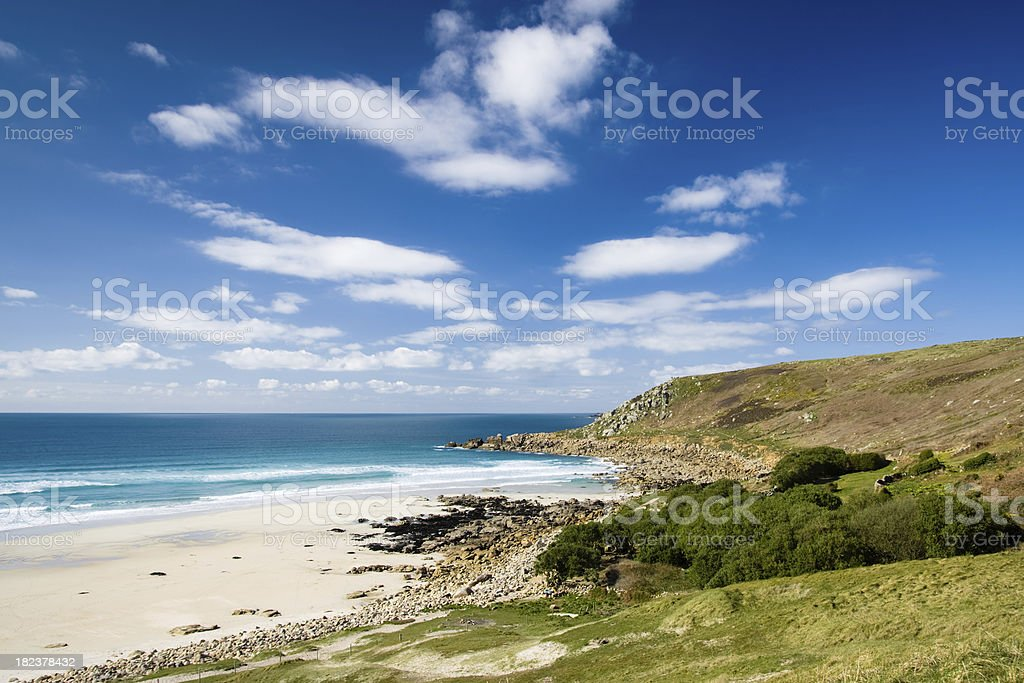 Gwenvor beach near Sennen in West Cornwall royalty-free stock photo
