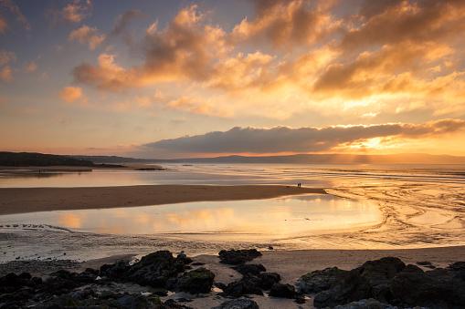 Gwithian beach dog walk at sunset - Cornwall- UK