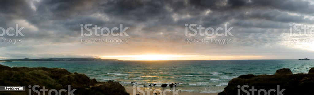 Gwithian sunset stock photo