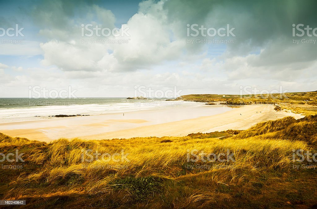 Gwithian Towans and Godrevy Island royalty-free stock photo
