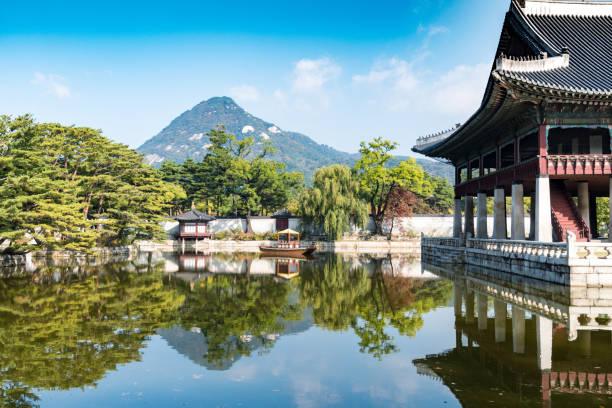 Gyeongbokgung Palace and lake in Seoul stock photo