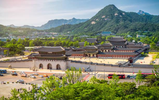 Gyeongbokgung Palace und dem blauen Haus, Seoul, Südkorea – Foto