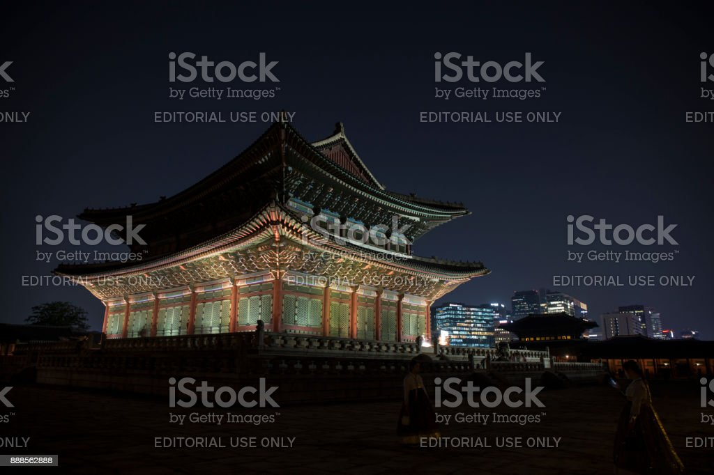 Gyeongbokgung Palace at night in Seoul,south Korea stock photo