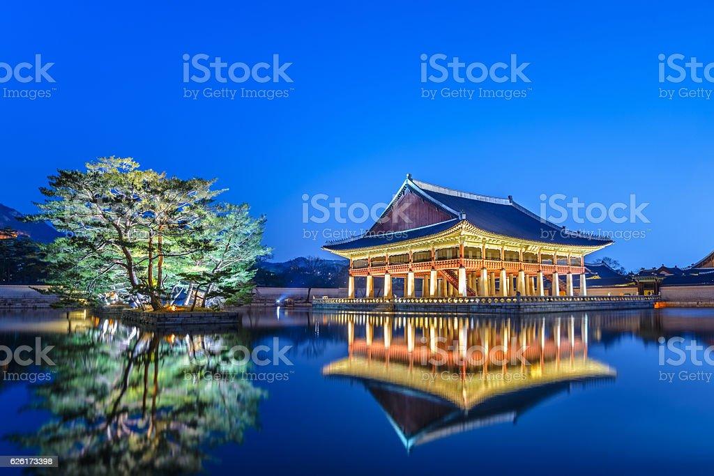 Gyeongbokgung Palace at night, Seoul, South Korea Gyeongbokgung Palace at night, Seoul, South Korea Asia Stock Photo