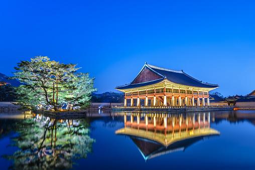 Gyeongbokgung Palace At Night Seoul South Korea Stock Photo - Download Image Now