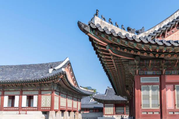 Gyeongbokgung Palace detail in Seoul stock photo