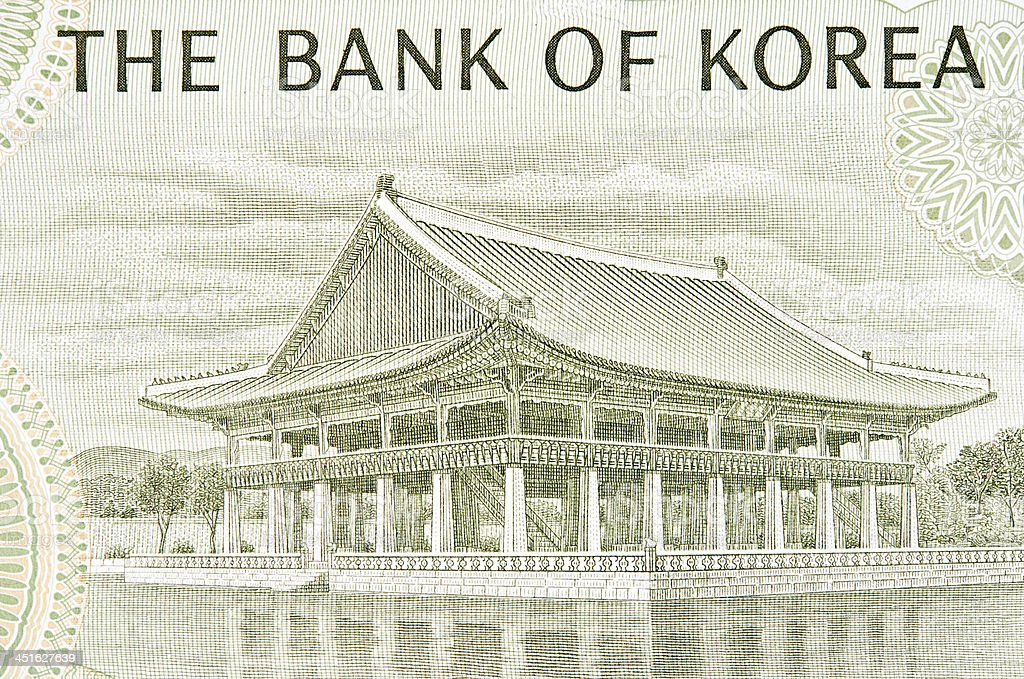 Gyeonghoeru Pavilion on Banknote royalty-free stock photo