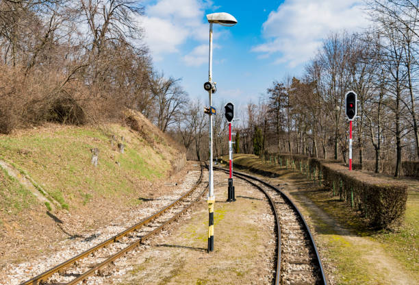 Gyermekvasút (Children's Railway) track and signals in Budapest stock photo