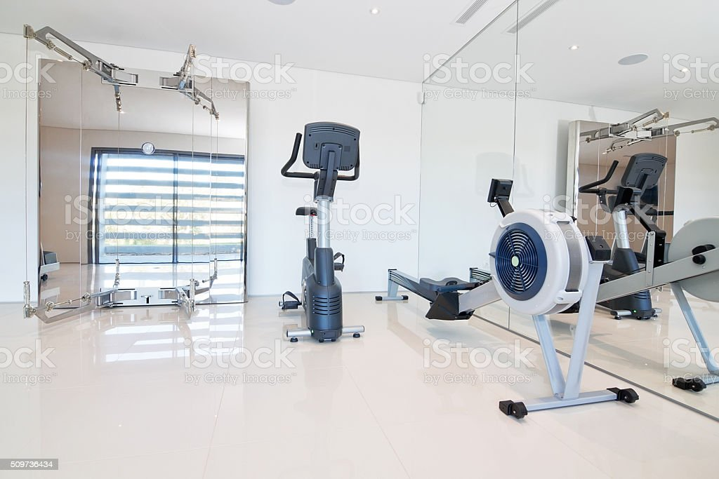 Gym and fitness equipment. Indoor. stock photo